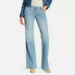 Miss Me Mid Rise Wide Leg Light Wash Flare Jeans